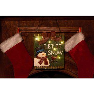 TM 13 in. H Christmas Let It Snow Light-up Hanging Wall Decor