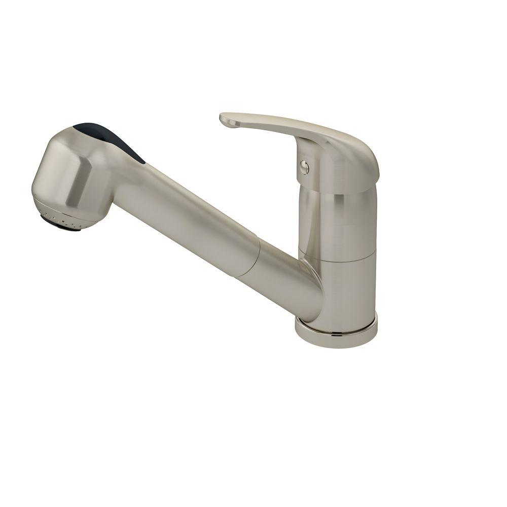 Symmons Andora Single-Handle Pull-Out Sprayer Kitchen Faucet in Satin Nickel