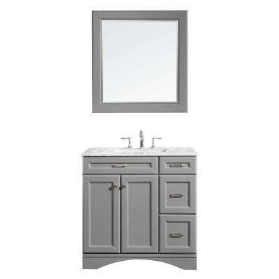 Naples 36 in. W x 22 in. D x 36 in. H Vanity in Grey with Marble Vanity Top in White with White Basin and Mirror