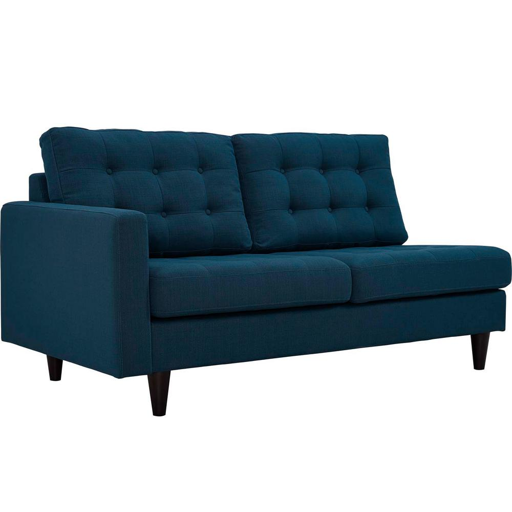 Empress Teal Left-Fac g Upholstered Fabric Loveseat