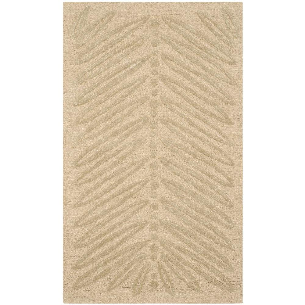 Chevron Leaves Oolong Tea Green 2 ft. 6 in. x 4