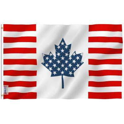 Fly Breeze 3 ft. x 5 ft. Polyester USA Canada Friendship Flag 2-Sided Flags Banner with Brass Grommets and Canvas Header