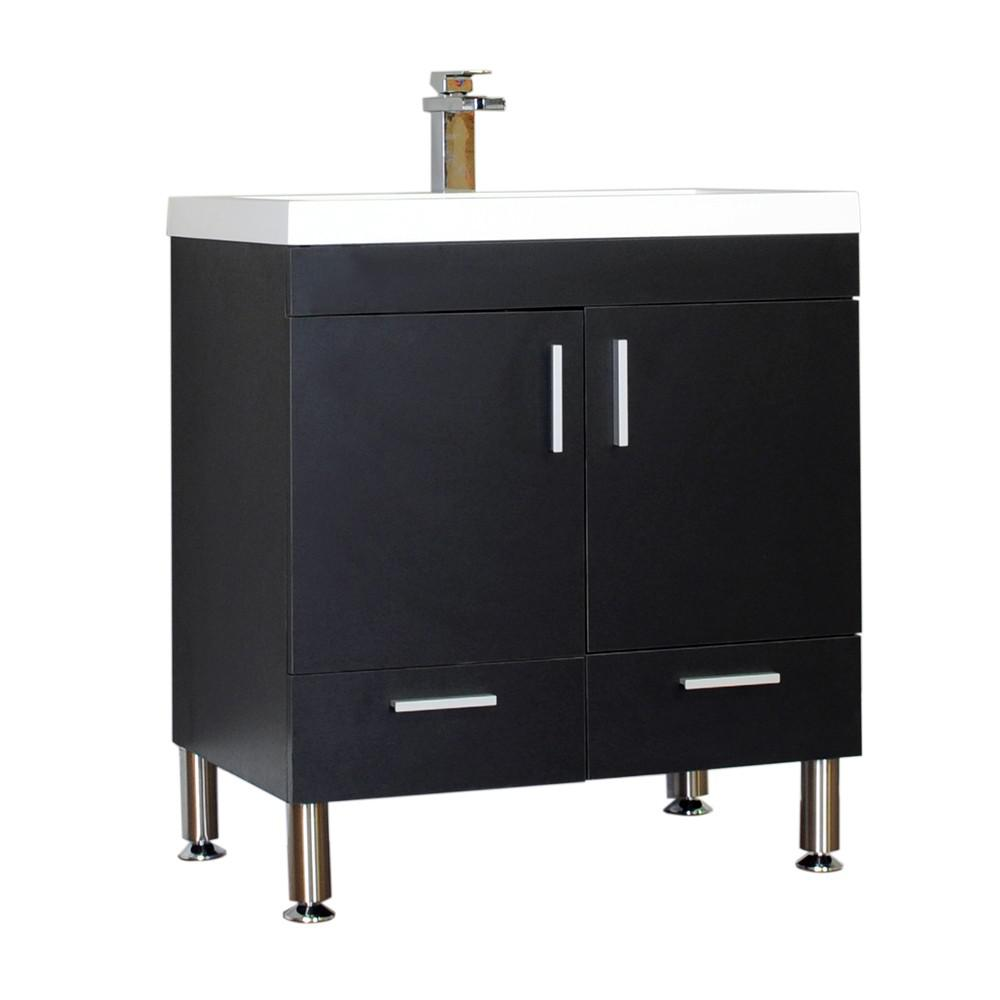 Alya Bath Ripley 29.37 in. W x 18.75 in. D x 33.37 in. H Vanity in Black with Acrylic Vanity Top in White with White Basin