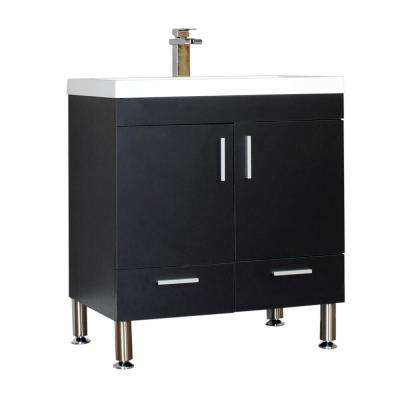 Ripley 29.37 in. W x 18.75 in. D x 33.37 in. H Vanity in Black with Acrylic Vanity Top in White with White Basin