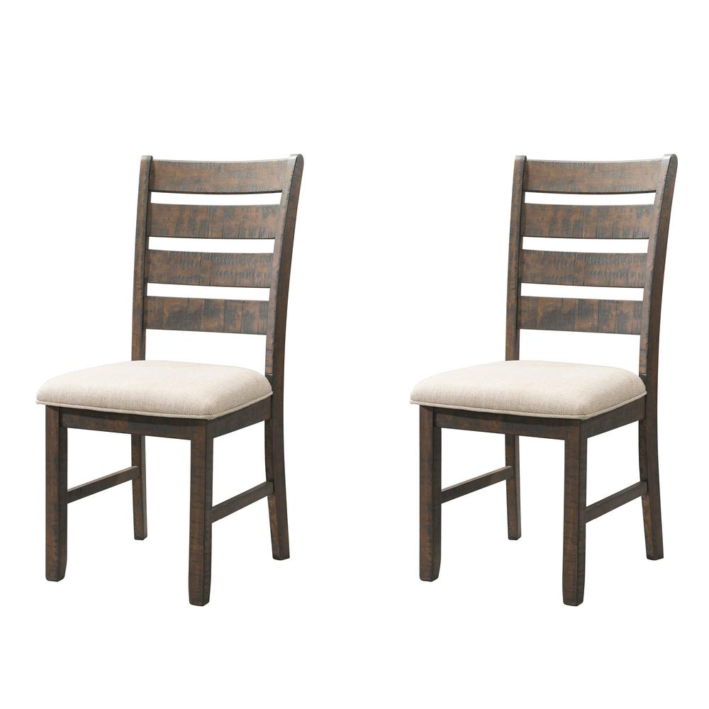 Dex Smookey Walnut Ladder Back Side Chair Set