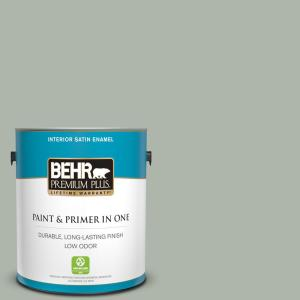 Behr Premium Plus 1 Gal Icc 56 Green Tea Satin Enamel Low Odor Interior Paint And Primer In One 740001 The Home Depot