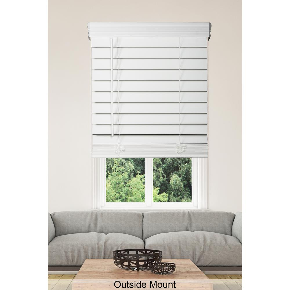 Home Decorators Collection White Cordless 2 1 2 In Premium Faux Wood Blind 27 In W X 64 In
