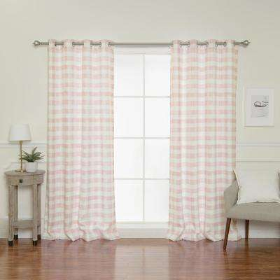 84 in. L Nordic Watercolor Check Grommet Curtains in Pink (2-Pack)