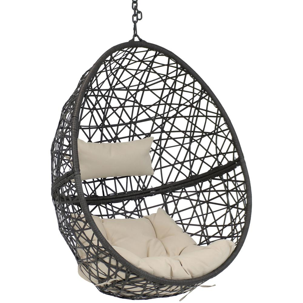 Caroline Resin Wicker Indoor Outdoor Hanging Egg Patio Lounge Chair With Beige Cushions