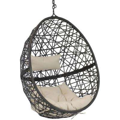 Caroline Resin Wicker Indoor/Outdoor Hanging Egg Patio Lounge Chair with Beige Cushions