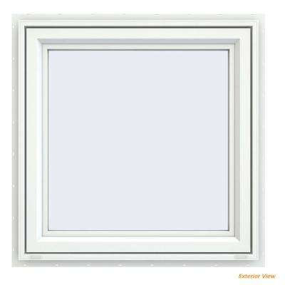 29.5 in. x 29.5 in. V-4500 Series White Vinyl Right-Handed Casement Window with Fiberglass Mesh Screen