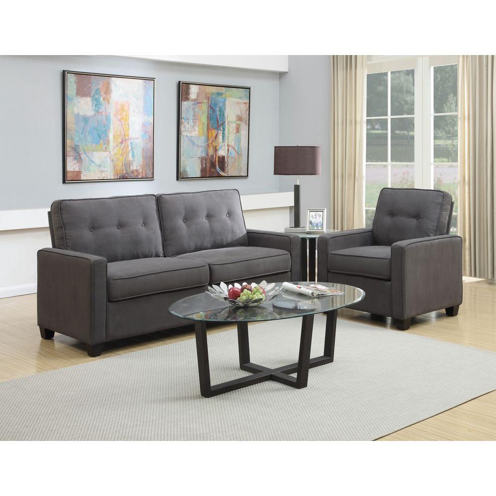 Bon Pulaski Furniture Vernon Slate Gray Polyester Tufted Arm Chair