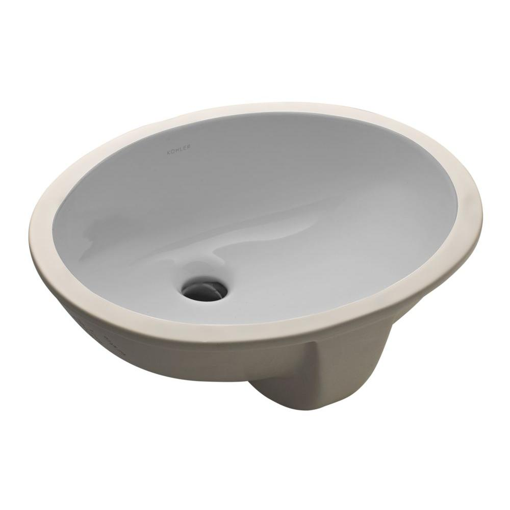 KOHLER Caxton Vitreous China Undermount Bathroom Sink In Ice Gray With  Overflow Drain