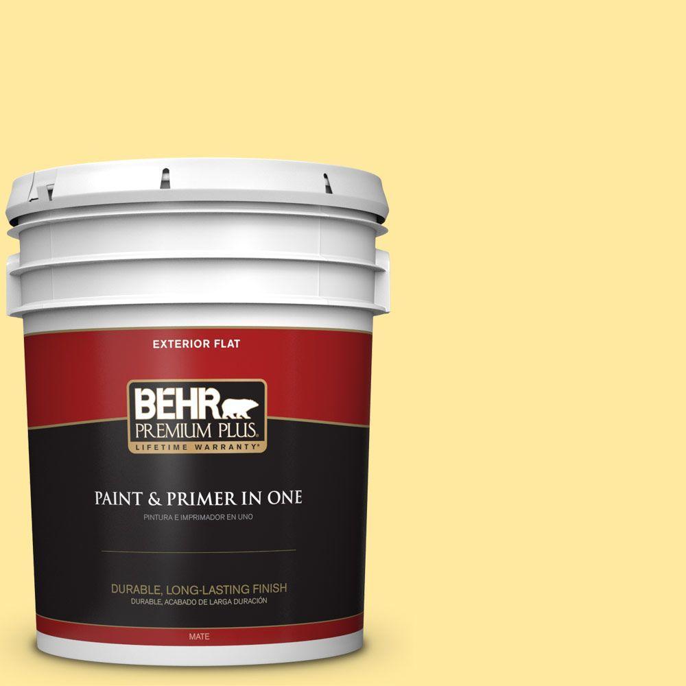 BEHR Premium Plus 5-gal. #P300-4 Rise and Shine Flat Exterior Paint