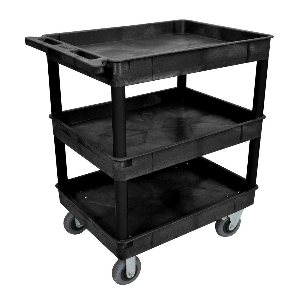 Go Home Black Industrial Kitchen Cart At Lowes Com: Luxor 24 In. X 32 In. 3-Tub Shelf Plastic Utility Cart