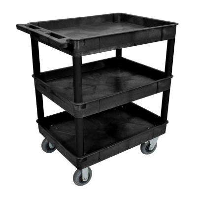 24 in. x 32 in. 3-Tub Shelf Plastic Utility Cart with 6 in. Semi-Pneumatic Casters, Black