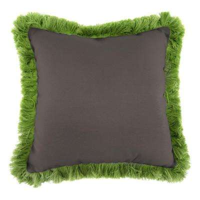 Sunbrella Canvas Coal Square Outdoor Throw Pillow with Gingko Fringe