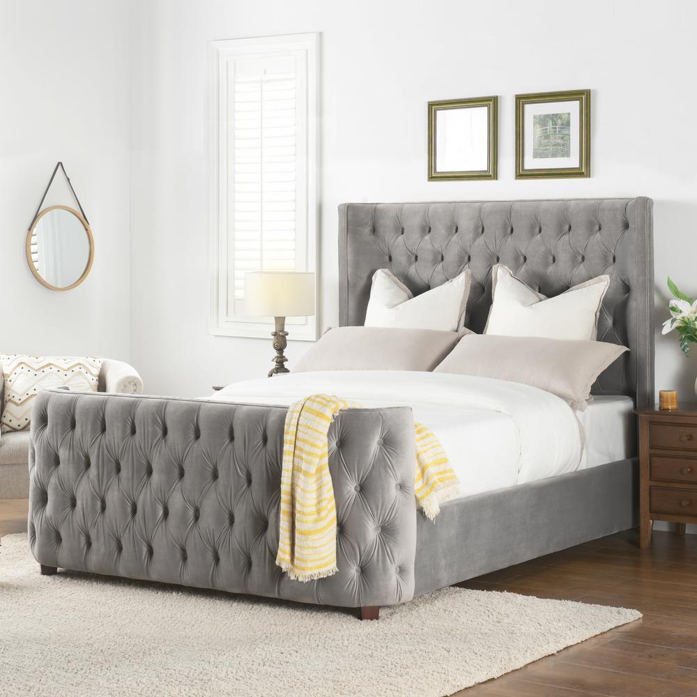 Brooklyn Tufted Opal Grey Queen Headboard Bed