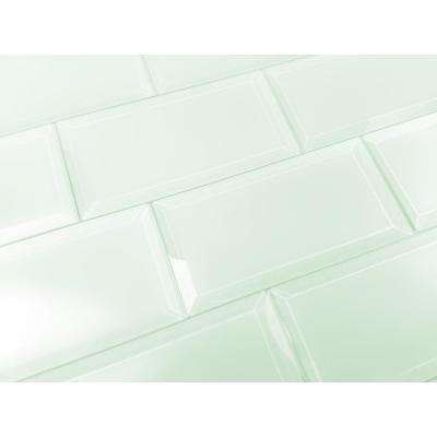 Subway 3 in. x 6 in. Rectangle Green Beveled Matte Glass Peel and Stick Decorative Bathroom Wall Tile Backsplash Sample