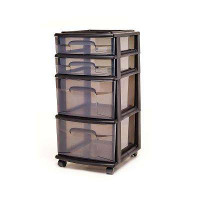 4 Drawer Medium Plastic Wheeled Cart in Smoke Gray