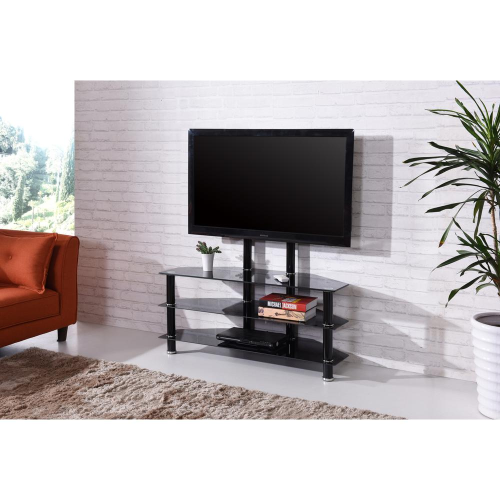Hodedah 43 In Wide Glass Tv Stand With Mount Hitv2502 The Home Depot