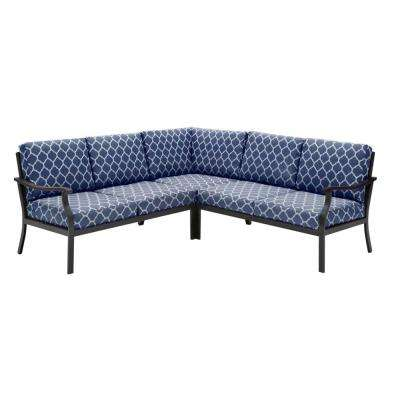 Riley 3-Piece Black Steel Outdoor Patio Sectional Sofa with CushionGuard Midnight Trellis Navy Blue Cushions