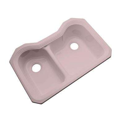 Breckenridge Undermount Acrylic 33 in. Double Bowl Kitchen Sink in Wild Rose