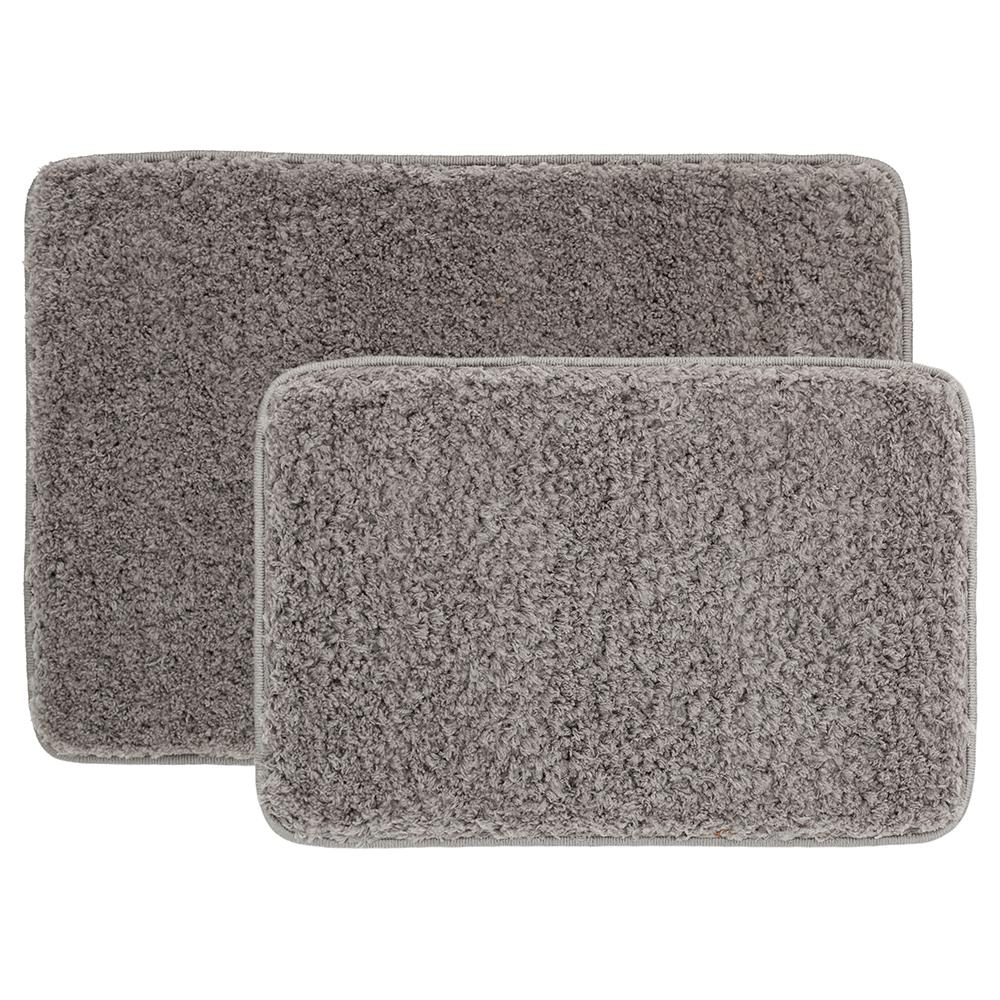 Home Decorators Collection Grey 20 in. x 30 in. Solid Shag 2-Piece Bath Mat Set