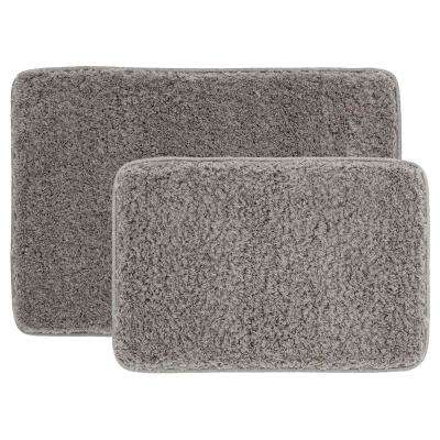 Grey 20 in. x 30 in. Solid Shag 2-Piece Bath Mat Set