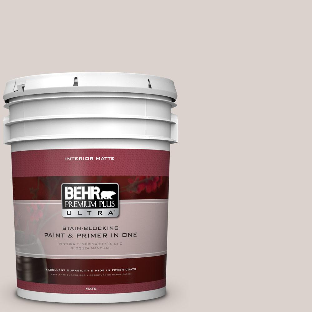 BEHR Premium Plus Ultra 5 gal. #N200-1 Moth Gray Matte Interior Paint and Primer in One
