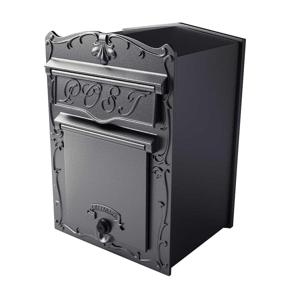 Kingsbury Black Wall Mount Locking Front Retrieval Mailbox