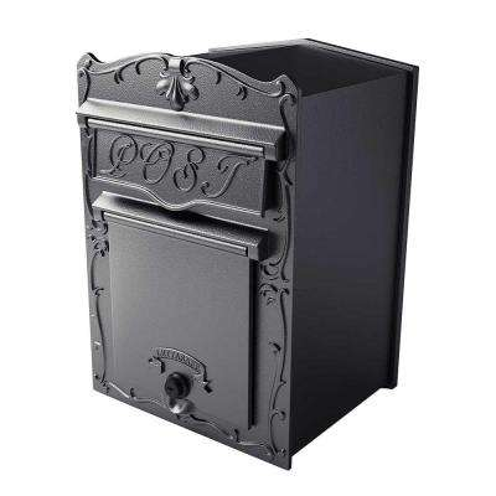 Kingsbury Black Wall Mount Locking Front Retrieval Mailbox