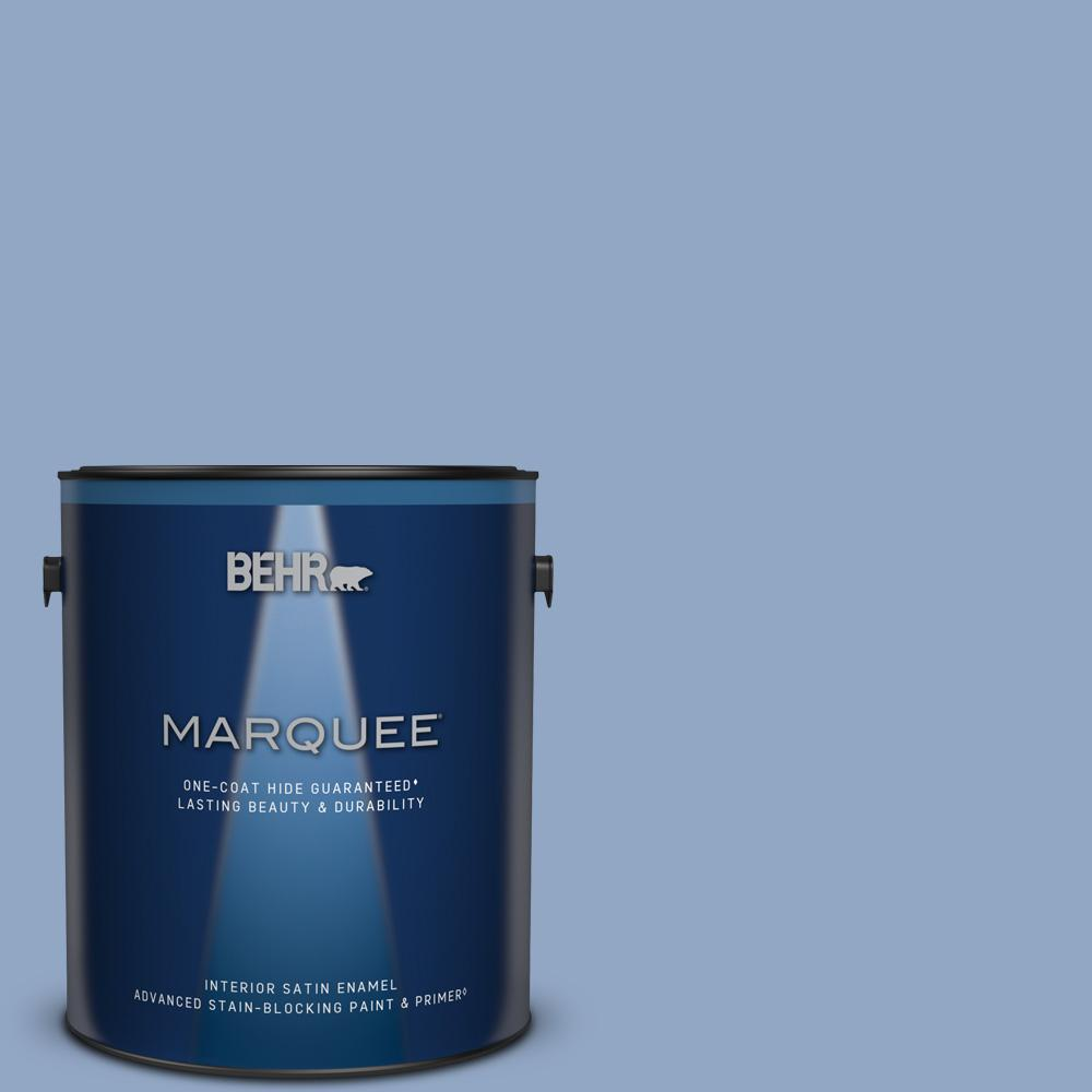 Behr Marquee 1 Gal Ppu15 13 Blue Hydrangea One Coat Hide Satin Enamel Interior Paint Primer 745401 The Home Depot