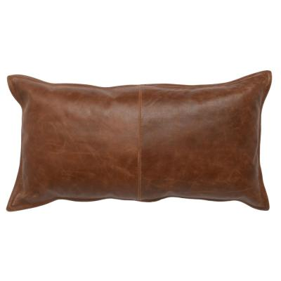 Distressed Leather Kona Brown 14 in. x 26 in. Rectangle Decorative Pillow