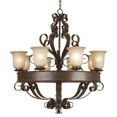 Gianni 8-Light Bronze Patina Chandelier with Shade