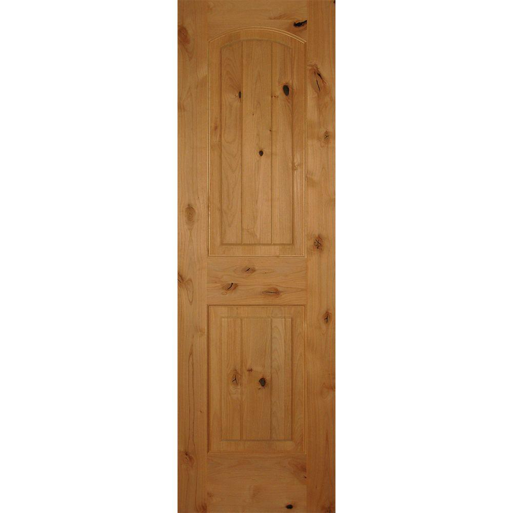 Builder's Choice 24 in. x 80 in. 2-Panel Arch Top Unfinished V-Grooved Solid Core Knotty Alder Single Prehung Interior Door