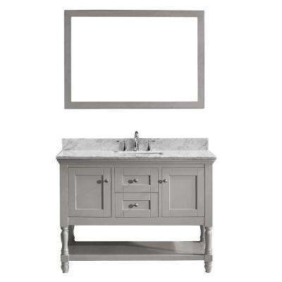 Julianna 49 in. W Bath Vanity in Gray with Marble Vanity Top in White with Square Basin and Mirror