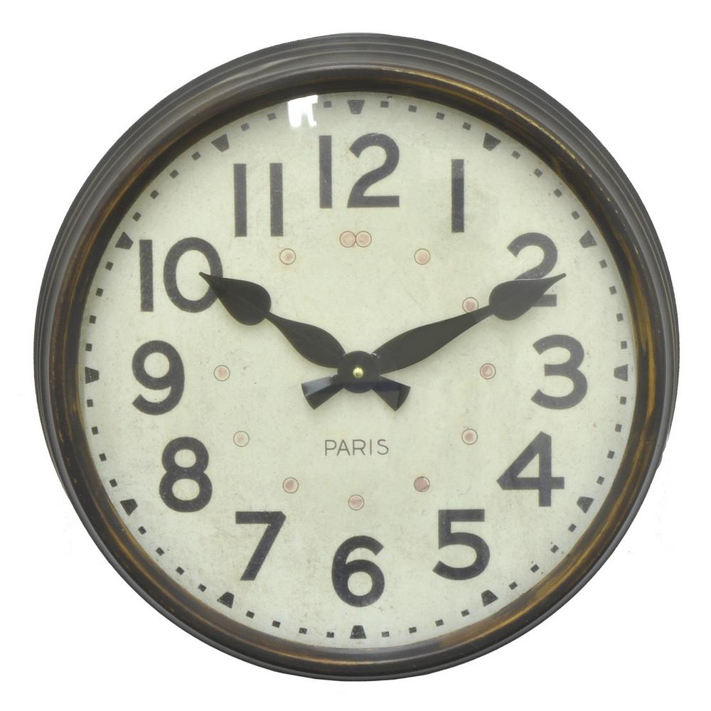 Three Hands 15 75 In X 4 In Metal Wall Clock In Brown