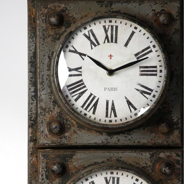 Zentique Antique Grey Floor Clock With 3 Clock Faces And Storage