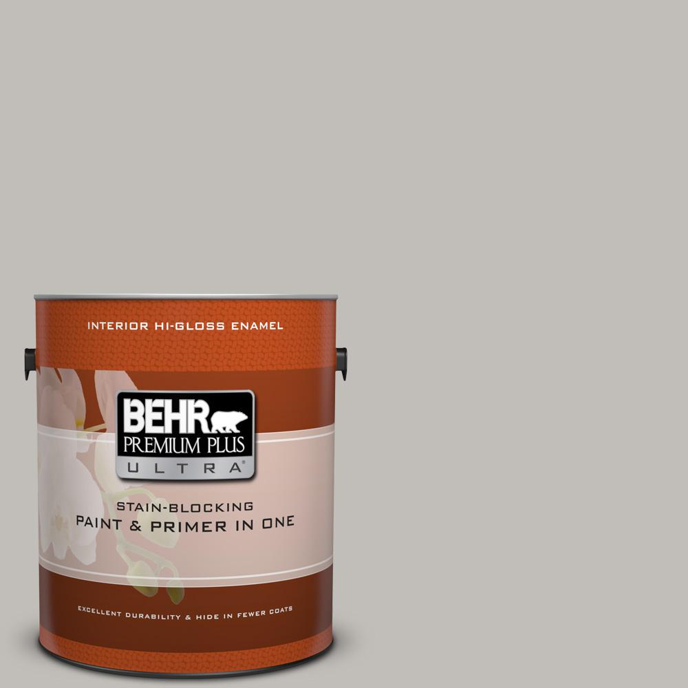 1 gal. #HDC-WR15-3 Noble Gray Hi-Gloss Enamel Interior Paint