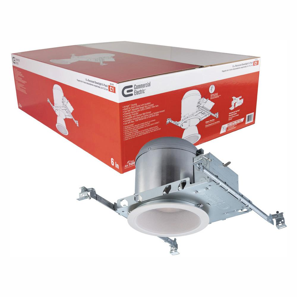 Commercial Electric 6 In White Recessed Lighting Housings And Trims Pack