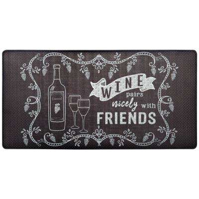 Cook N Comfort Gray Wine Pairs Nicely 20 in. x 39 in. Kitchen Mat