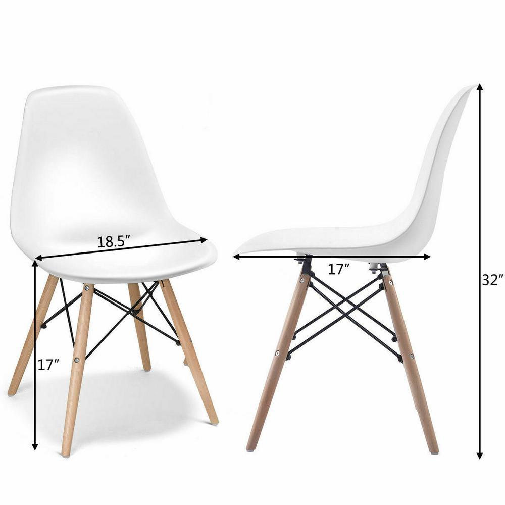 Wondrous Costway Set Of 4 Mid Century Modern Dsw White Dining Side Machost Co Dining Chair Design Ideas Machostcouk