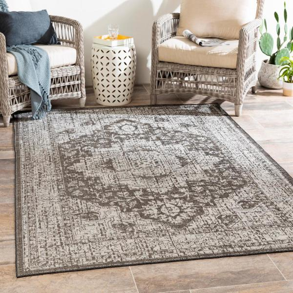 Artistic Weavers Valerio Wheat 5 Ft 3 In X 7 Ft 3 In Medallion Indoor Outdoor Area Rug S00161026921 The Home Depot