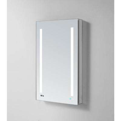 Signature Royale 24 in W x 40 in. H Recessed or Surface Mount Medicine Cabinet with Single Door, LED Lighting,Left Hinge