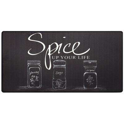 Cook N Comfort Black Spice Up 20 in. x 39 in. Kitchen Mat