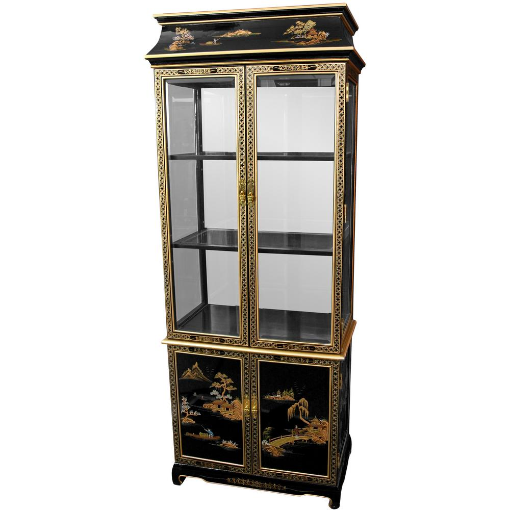 Oriental Furniture Black Lacquer Landscape Ming Paa Top Curio Hand Painted Cabinet