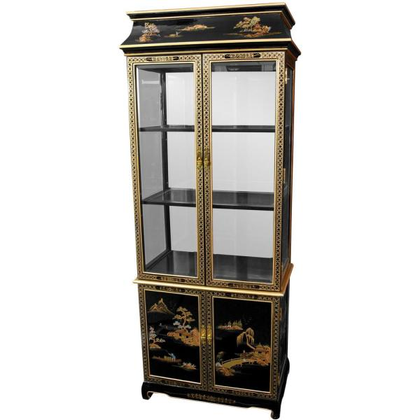 Oriental Furniture Oriental Furniture Black Lacquer Landscape Ming Pagoda Top Curio Hand Painted Cabinet