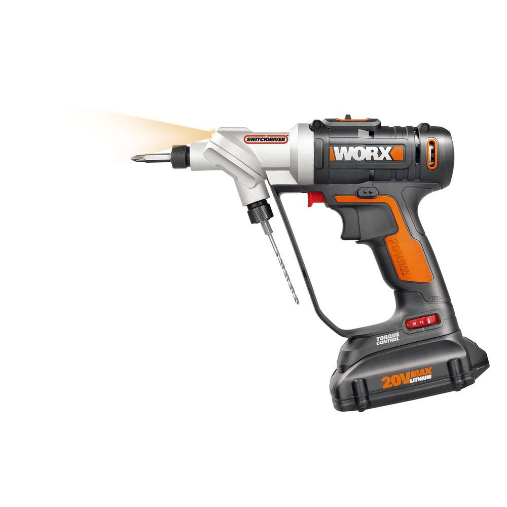 worx 20-volt lithium-ion 1/4 in. cordless drill/driver-wx176l - the