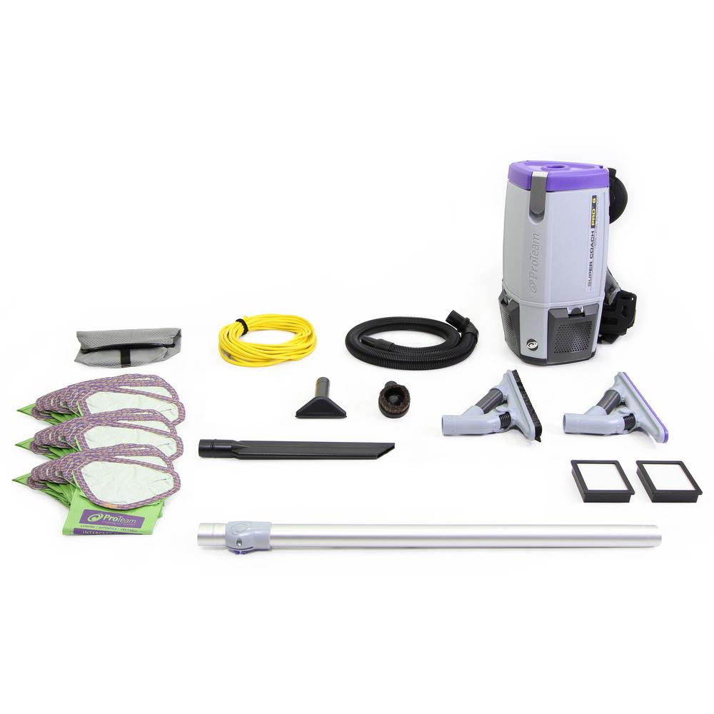 ProTeam Fully Loaded Super Coach Pro 6 Qt. Commercial Backpack Vacuum Cleaner with ProBlade Tool Kit